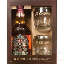 Chivas Regal Scotch 12 Year Includes 2 Glasses 750ml